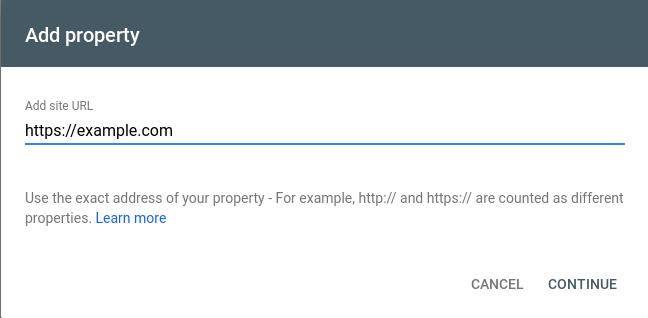 Google Webmaster Tools: Add Property