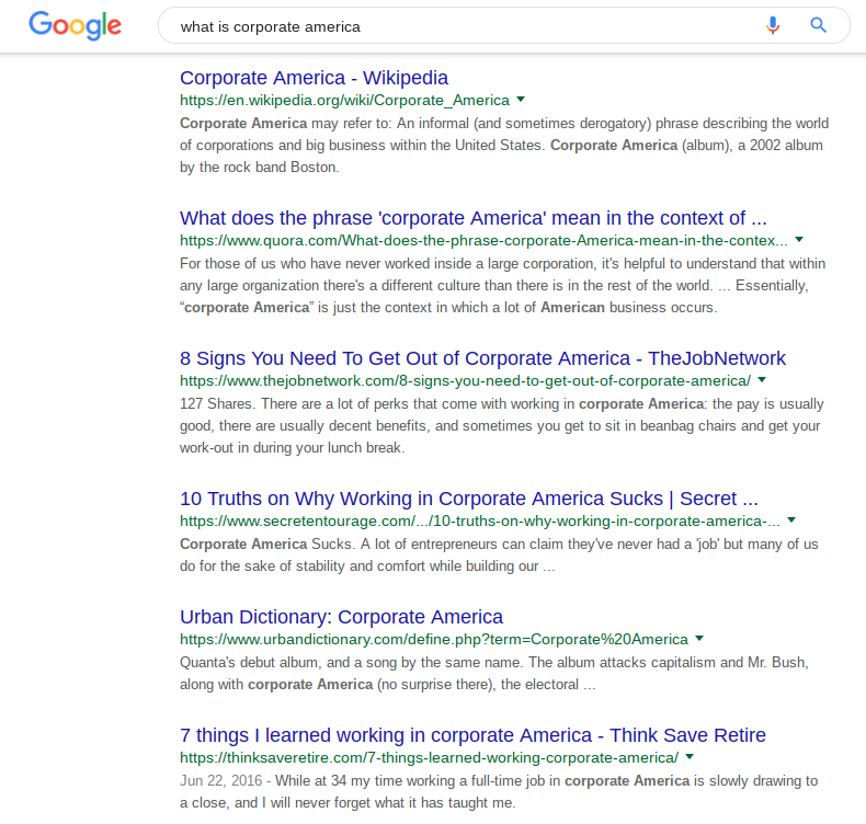 """Google SERP result for """"what is corporate america"""""""