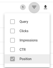 Google Webmaster Tools: Select Position