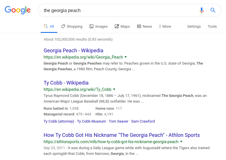 Google search results page for 'the Georgia peach'