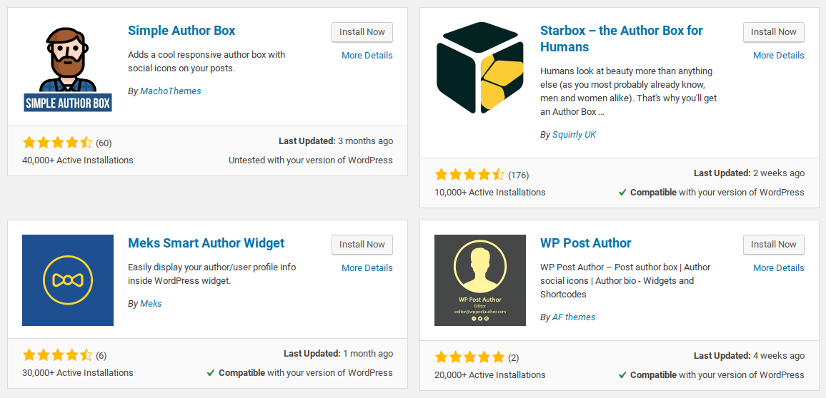 Author plugins in WordPress